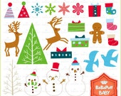 Buy 2 Get 2 Free ---- Christmas Design Elements Set 1 ---- Personal and Small Commercial Use ---- BB 0014