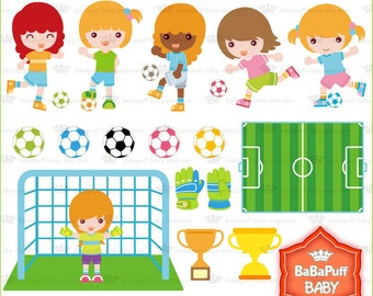 Football Race Girls ---- Soccer Clip Art, Personal and Small Commercial Use ---- BB 0065