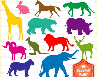 Buy 2 Get 2 Free ---- Wild Animals Silhouette ---- Personal and Small Commercial Use ---- BB 0085
