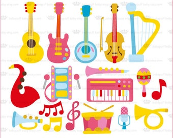Musical instruments Set 1---- Clip Art ---- Personal and Small Commercial Use ---- BB 0123
