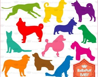 Buy 2 Get 2 Free ---- Set 1 Dogs Silhouette ---- Personal and Small Commercial Use ---- BB 0148