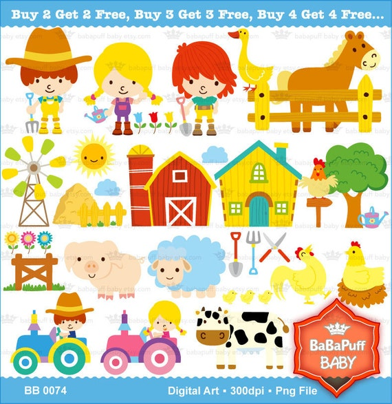 Buy 2 Get 2 Free ---- Barn Animals ---- Personal and Small Commercial Use ---- BB 0074