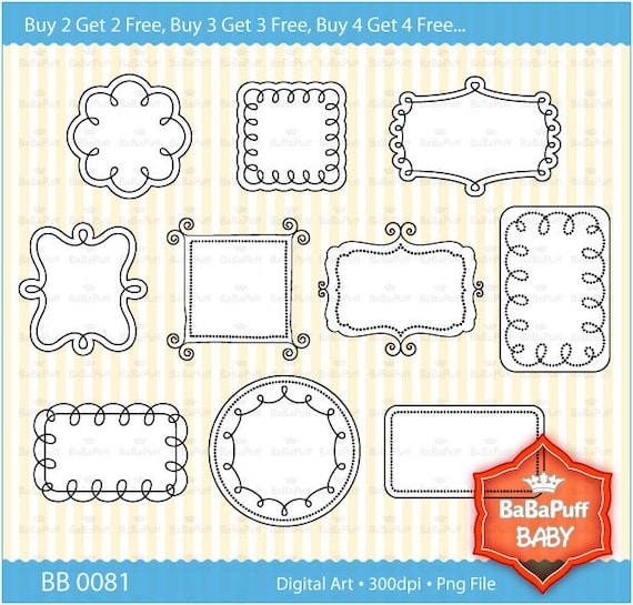 Buy 2 Get 2 Free ---- 10 Printable Doodles Frames Clip Art --- Personal and Small Commercial Use ---- BB 0081