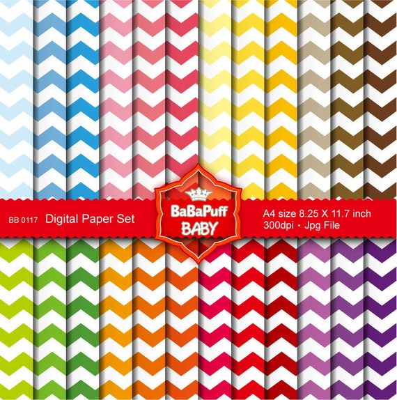 Buy 2 Get 2 Free ---- Chevron Digital Papers Set 2 ---- Personal and Small Commercial Use ---- BB 0117