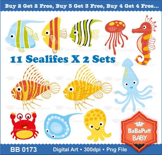 Buy 2 Get 2 Free ---- Printable Sea Animals Set B ---- Personal and Small Commercial Use ---- BB 0173