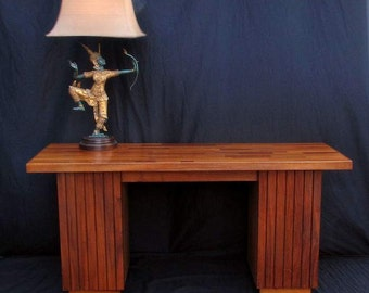 Natural mahogany pedestal writing desk