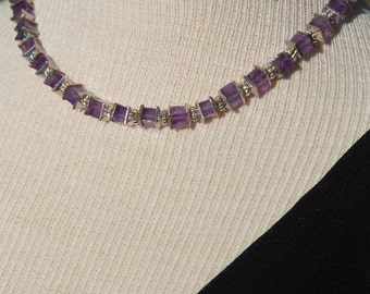 Purple Amethyst and Silver Necklace