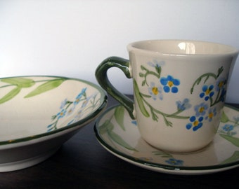 """Franciscan """"Forget Me Not"""" Tea Cup/Saucer and Bowl"""