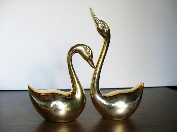 Pair of Elegant Vintage Brass Swan Sculptures
