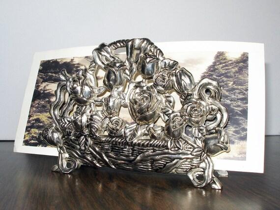 Vintage Basket of Roses Silverplated Letter/Napkin Holder