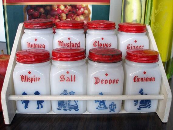 SALE-Take 25% off at checkout: Vintage Tipp City Dutch Dove Milk Glass Spice Set (1940s )