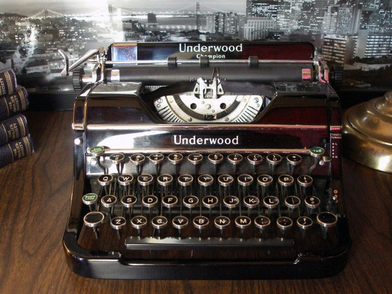BUY IT NOW 30% off Sale, Final Price would be 221 with discounts (Original price 325): Vintage 1937 Underwood Champion Typewriter