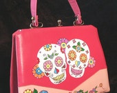RESERVED for MEG...Hand Painted Vintage Handbag, Day of the Dead, Dia de los Muertos, Upcycled, Hot Pink, Multicolor, OOAK