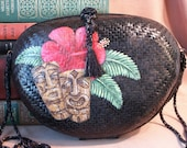 TIki Hand Painted Purse, Vintage 70's, Upcycled, Black, with Hot Pink, Brown and Green Tikis and Hibiscus FlowerOOAK