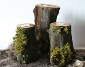Wood candles for your valentine -set of 3