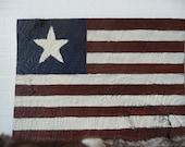 Rustic Texas Star American Flag Hand Painted Barnwood Wall Hanging