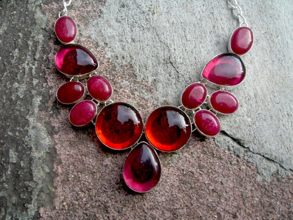 Genuine Ruby Necklace and Red Glass Sterling Silver 925 Necklace- SUPER SALE