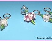 Stitch Markers - Spring Pink and Green Lampwork Bead - Set of Five