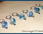 Stitch Markers - Blue With Silver Foil - Set of Six