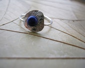 Sterling Silver Ring, Blue Lapis Lazuli Stone, Textured Silver Ring, Stacker Ring, Handmade Ring, Artisan Jewelry