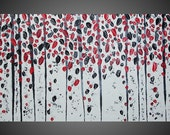 Abstract Acrylic Painting Large Canvas Birch Trees Forest Landscape Textured Black White Grey Red 3D Art Deco FREE SHIPPING 48  x 24 x 1,6