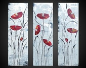 Reserved for Brittany only Abstract Acrylic Painting Red Poppies Floral Flowers Black White Metallic Silver large 3 panel Modern