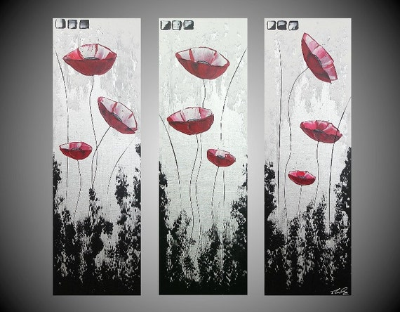 """ORIGINAL Abstract Acrylic Painting Red Poppies Floral Flowers Black White large 3 panel Modern Fine Art by ilonka 36 x 36"""" FREE SHIPPING"""