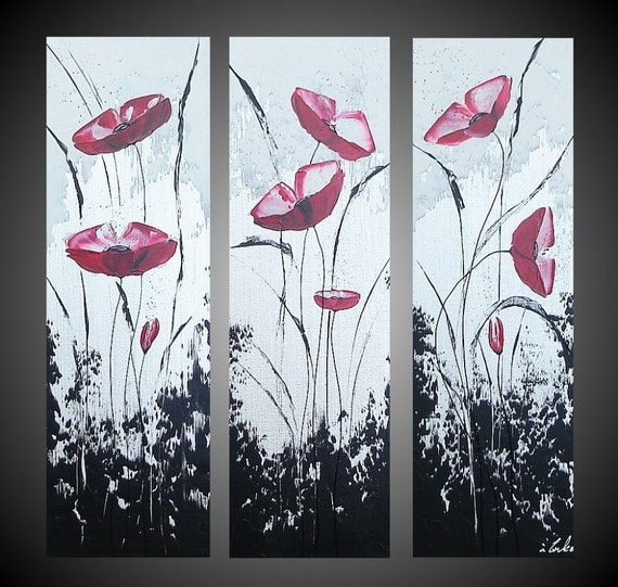 """ORIGINAL Abstract Acrylic Painting Red Poppies Floral Flowers Black White Silver large 3 panel Modern Fine Art FREE SHIPPING 24 x 24"""""""