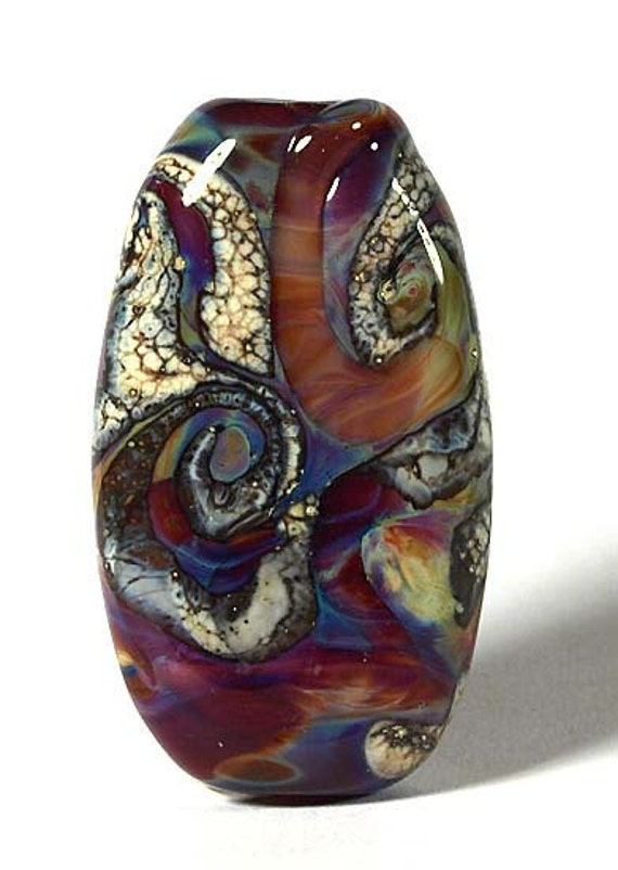 Colorful Silver Glass Tab Shaped Handmade Focal Bead Lynne Sale