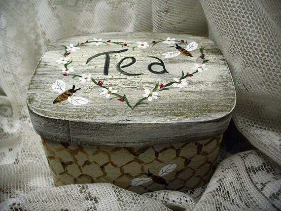 Tea Box Country Garden Honeybees/Ladybug Gift Housewarming OOAK Shaker Cottage Garden Rustic Farmhouse Kitchen Thoughtful Small Gift Idea
