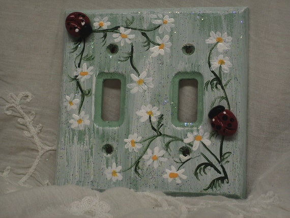 Ladybug Lightswitch Cover Plate Switchplate Wallplate Daisy Flower Handpainted Sparkle Fairy Garden Shabby Chic  Princess Room Decor