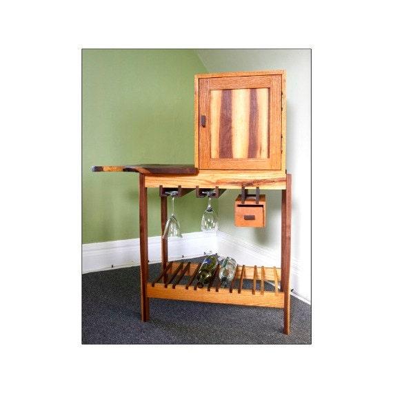live edge mini bar with reclaimed wood cabinet wine storage black walnut