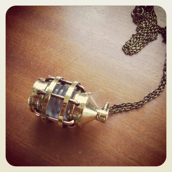 Large Solid Brass Nautical Lantern Charm Necklace