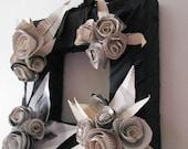 Square Vintage Paper Flower Wreath