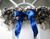 Vintage Book Paper Rosette Swag with Pearls and Blue Bow