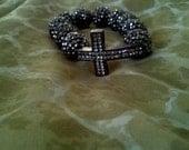 Gunmetal Rhinestone cross Bracelet with matching disco beads