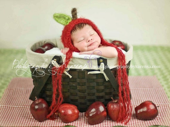 ORIGINAL BEST SELLING Sweetest Little Apple Bonnet, Hat, Cap, Beanie, Newborn Prop