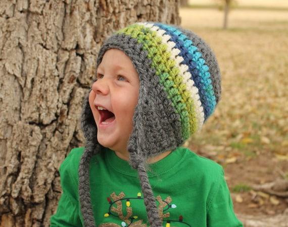 crochet kids hat, chunky crochet ear flap hat with stripes, great photography prop