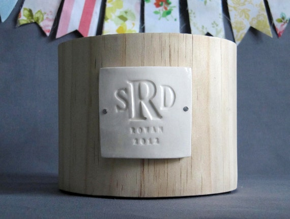 PERSONALIZED Wedding Gift - Monogrammed Wood Planter  - Gift Packaged