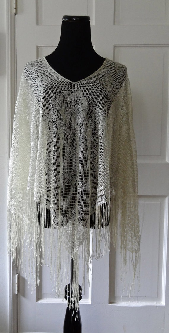 Cream Crochet Knitted Cape Shawl