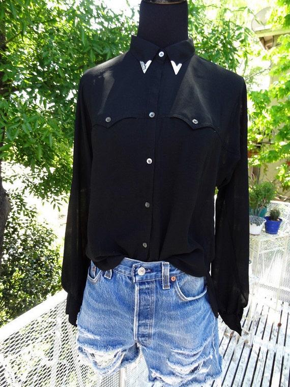 Vintage Redeux Collar Tip Black Sheer Blouse