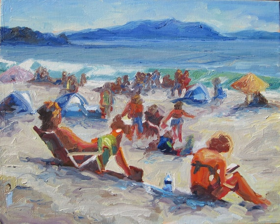 "Summer Day At Beach Oil on Canvas 16"" x  20"""