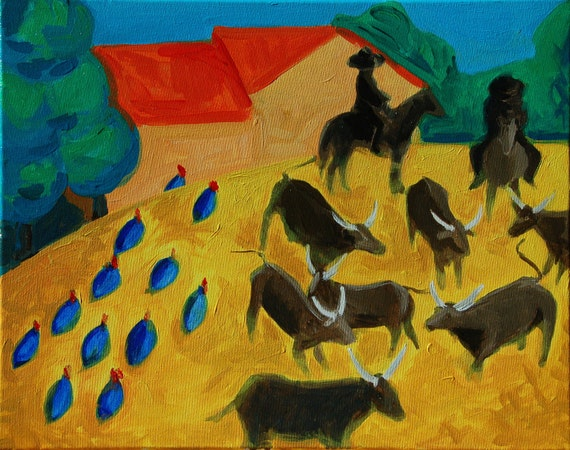 """Round Up of the Bulls acrylic paint on canvas 16""""x20"""""""