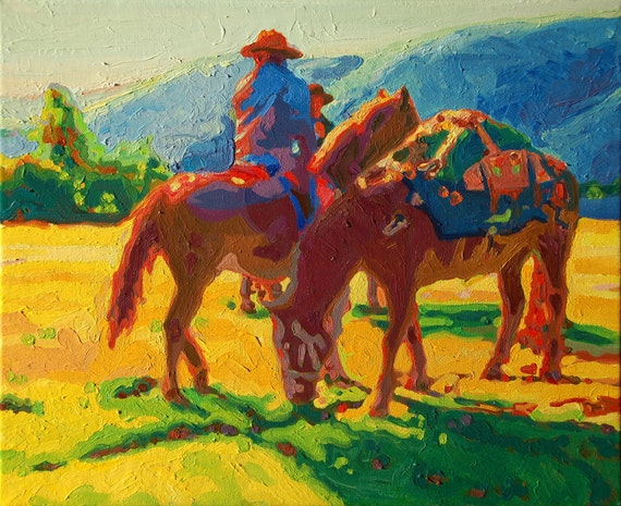 Items similar to Horse and Pack Mule Early Morning II oil ...