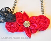 Fabric rosettes necklace, Sexy red necklace, fabric jewelry, romantic red flowers, rhinestone and lace