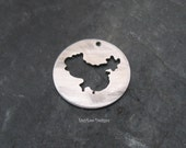 """Round Sterling Custom Design Stamping Disc--7/8"""" China Cut-Out"""