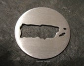 """Round Sterling Custom Design Stamping Disc--7/8"""" Puerto Rico Cut Out"""