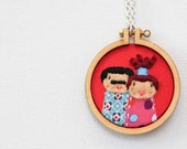 Cute embroidery hoop necklace - unique mini hoop design - ROXANNE & PEDRO - made by dandelyne