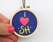 Embroidered I LOVE S.H. necklace - teeny tiny mini embroidery hoop - personalized - made by dandelyne