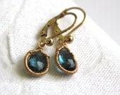 Gold BlueTopaz Drop Earring's -   Tear Drop Earrings - 14K Gold Fill - Handmade Jewelry
